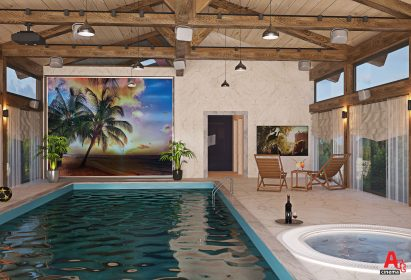 Домашний кинозал в бассейне - интерьер